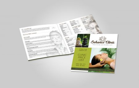 Enhance Clinic Price List Brochure Design